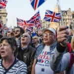 Pro-Brexit demonstrators gather in Parliament Square