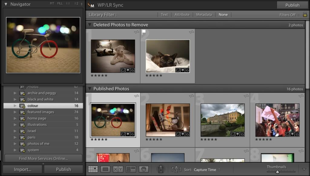 The WP/LR Lightroom interface