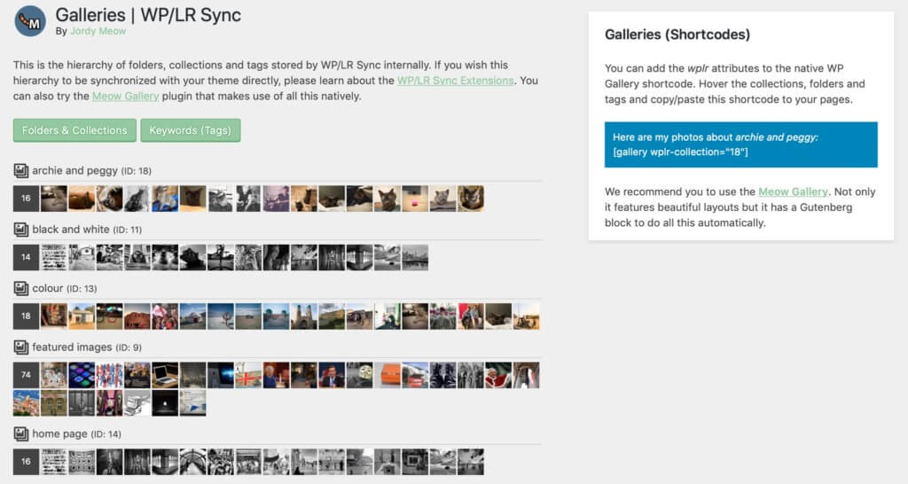 WP/LR galleries in WordPress